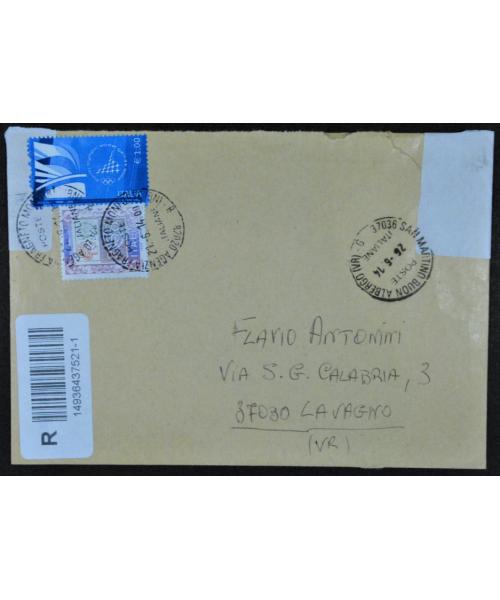 Italia 2006: Busta viaggiata con bollo da 1€ 'Torino 2006' falso