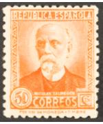 Spagna 1931/34: Personaggi celebri. 50c. arancio Integro